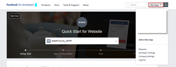 การสร้าง Facebook App
